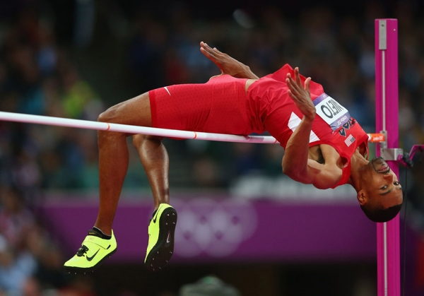 A former U.S. Olympic high jump star was partially paralyzed in a training incident over the weekend